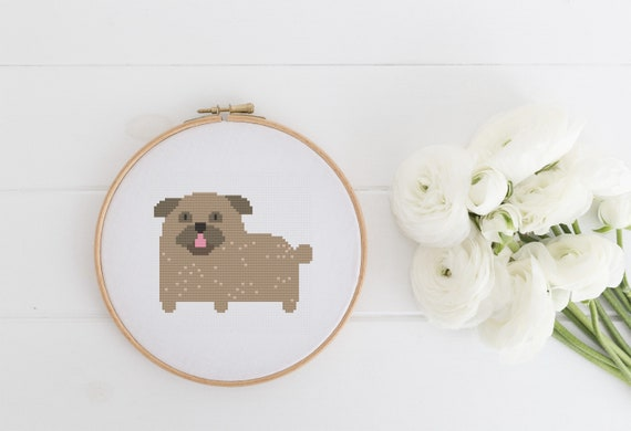 Pug - Dog - Animal Cross Stitch Pattern - Modern Cross Stitch - Childrens Decor Nursery - Instant Download -