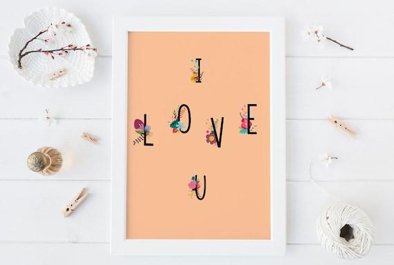 8 x 10 I Love U - You Print- Nursery Decor Wall Art Baby Girl - Boy Room Printable Decor - DIGITAL DOWNLOAD