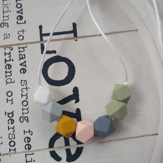 Nursing Teething Necklace - Silicone Beads - Teether Chewing Beads- Silicone Necklace - babywearing - Mini Hexagons