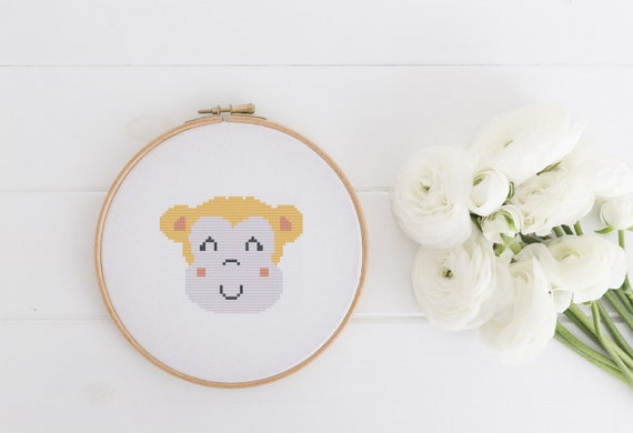 Monkey Head Animal Portrait Pattern - Cross Stitch Pattern - Modern Cross Stitch - Childrens Decor Nursery - Instant Download