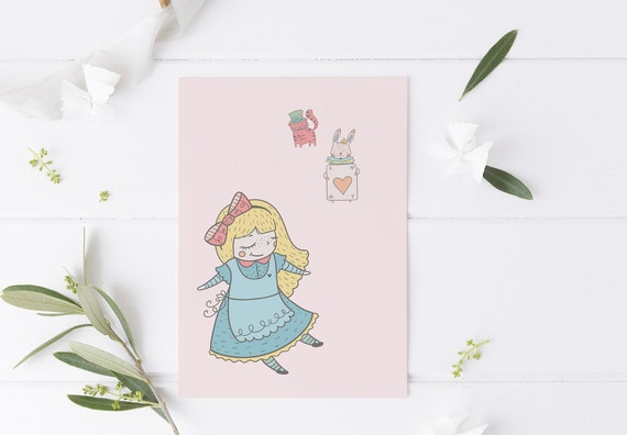 8 x 10 Alice In Wonderland Cat & Bunny Decor Print- Nursery Kids Room Baby Wall Art - DIGITAL DOWNLOAD