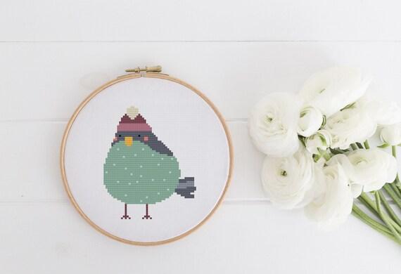 Green Winter Bird - Cross Stitch Pattern PDF Instant Download- Modern Cute Cross Stitch - Nursery Decor Needlecraft Pattern Hoop Art