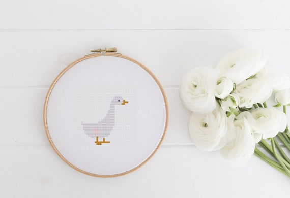 Little Goose Quick Playful Spring Farm Animal Project Chart Cross Stitch Pattern - Modern Cross Stitch - Childrens Decor Nursery