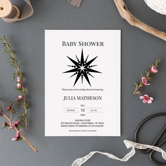 Modern Star 2 Monochrome Baby Shower Invitation - Editable Template - 5 x 7 - Card - Editable Invitation Templett - Download DIY