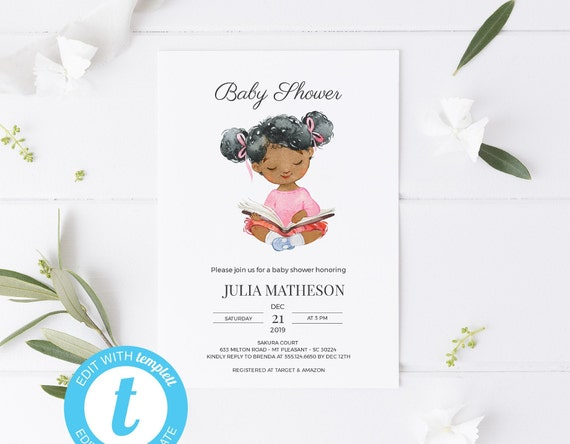 Reading Girl Watercolor Baby Shower Invitation - Editable Template - 5 x 7 - Card - Editable Invitation Templett - Download