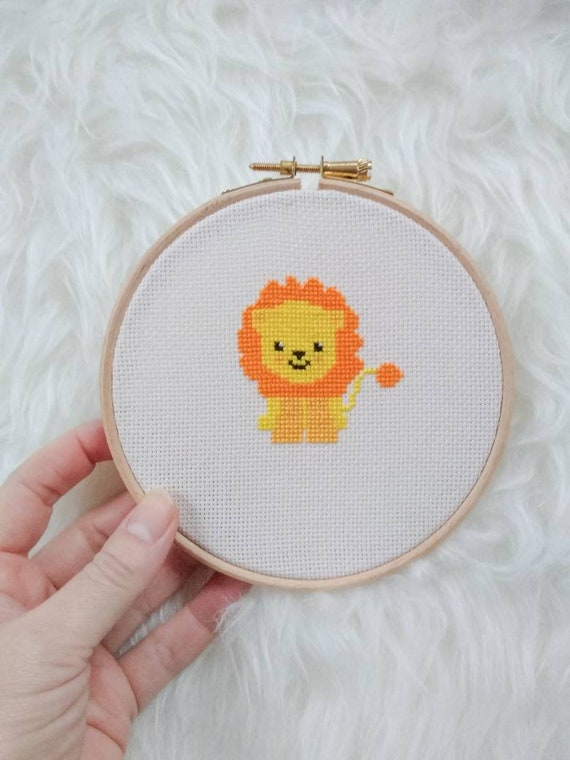 Little Lion - Animal Chart Cross Stitch Pattern - Modern Cross Stitch - Childrens Decor Nursery - Instant Download -