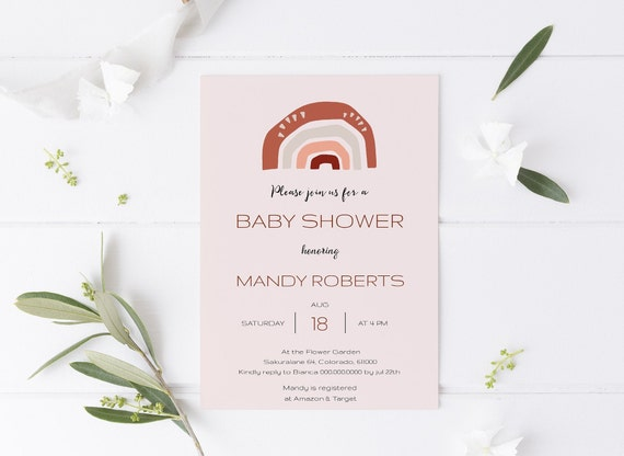 Rainbow Modern Abstract Pink Baby Shower Invitation - Editable Template - 5 x 7 - Card - Editable Invitation Templett - Download