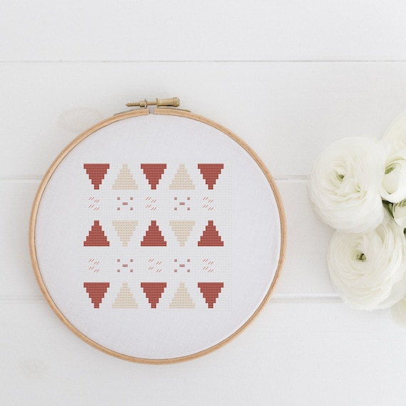 Pyramids - Modern Geometric - Cross Stitch Pattern PDF - Cross Stitch - Needlecraft Pattern Hoop Art - Instant Download