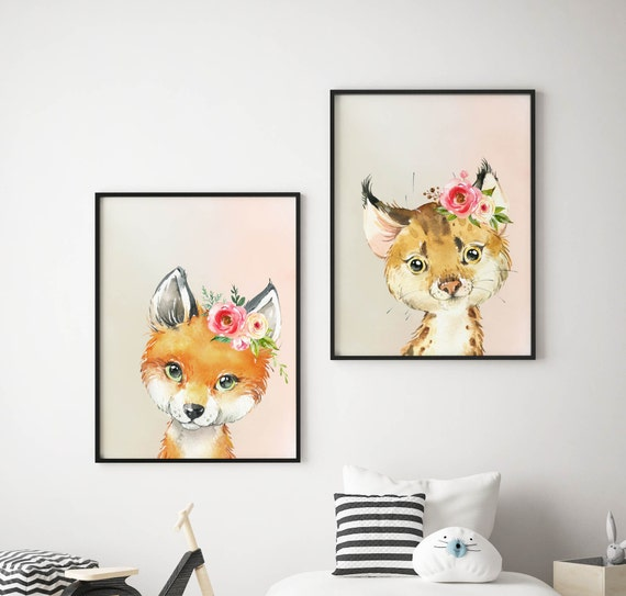 8 x 10 Bobcat and Fox Set - Boho Nursery Decor Print Wall Art Watercolor Baby Girl Room Printable Decor