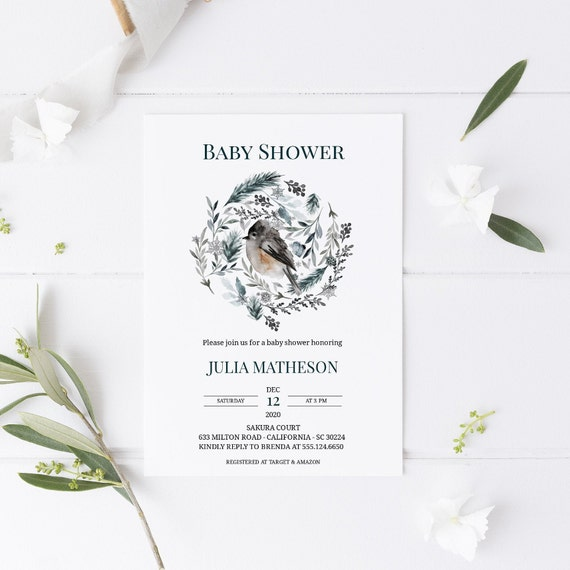 Watercolor Bird Leaves Wreath Baby Shower Invitation - Editable Template - 5 x 7 - Card - Editable Invitation Templett - Download DIY