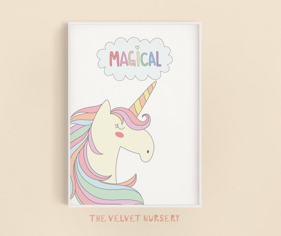 Magical Unicorn - Nursery Print - Baby Girl / Boy Room - DIGITAL DOWNLOAD
