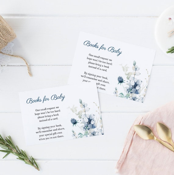 Books for Baby - Bouquet Blue - Editable Template - 5 x 3.5 inch - Card Watercolor - Edit Yourself Download - Jpeg & PDF options