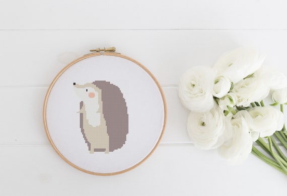 Standing Hedgehog - Woodland Animal Cross Stitch Pattern - Modern Cross Stitch - Childrens Decor Nursery - Instant Download -