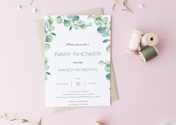 Watercolor Eucalyptus Greenery Baby Shower Invitation - Editable Template - 5 x 7 - Card - Editable Invitation Templett - Download