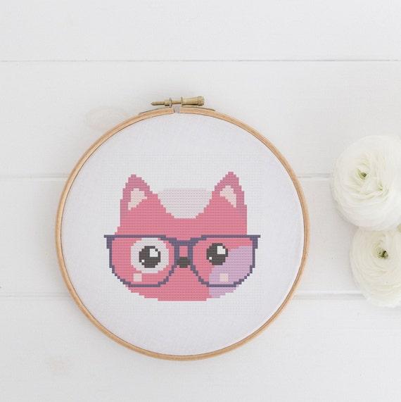 Cat with Glasses Pink Animal Pet Portrait Pattern - Cross Stitch Pattern - Modern Cross Stitch - Childrens Decor Nursery - Instant Download