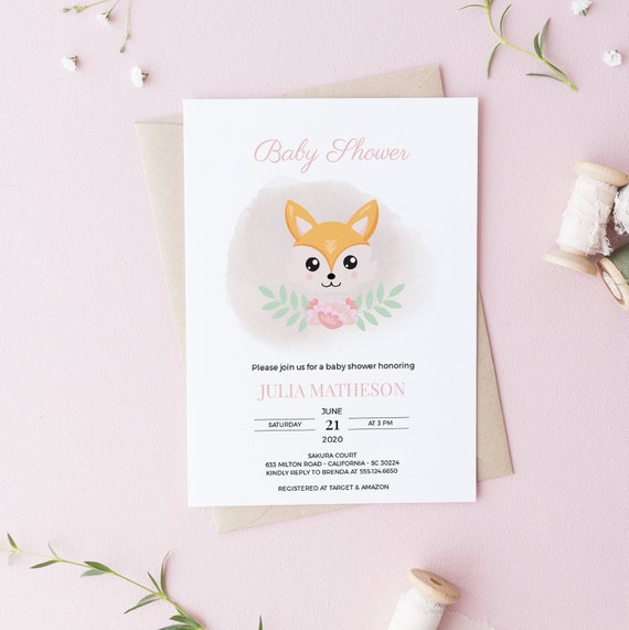 Fox Flower Wreath Baby Shower Invitation - Editable Template - 5 x 7 - Card - Editable Invitation Templett - Download DIY