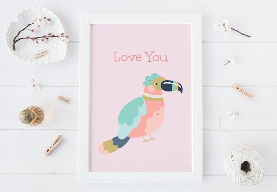 8 x 10 Love You Tropical Bird Jungle Animal Watercolor Print- Nursery Decor, Baby Wall Art Printable Decor - DIGITAL DOWNLOAD