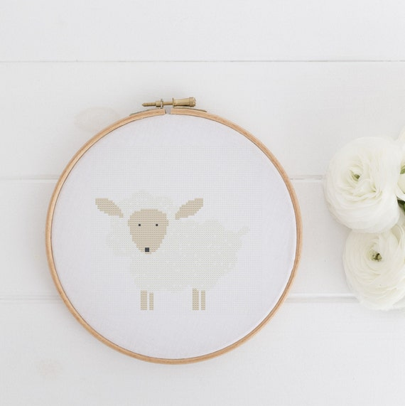 Sheep Spring Farm Animal - Cross Stitch Pattern PDF - Cross Stitch - Nursery Decor Needlecraft Pattern Hoop Art - Emailed within 24 hours