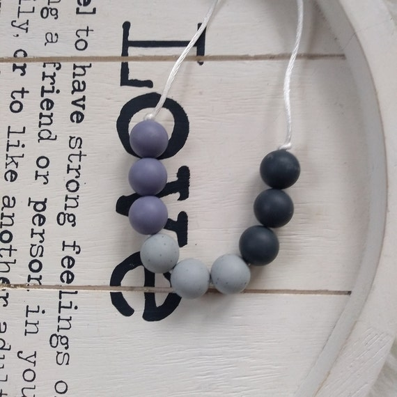 Nursing Teething Necklace - Silicone Beads - Teether Chewing Beads- Silicone Necklace - babywearing
