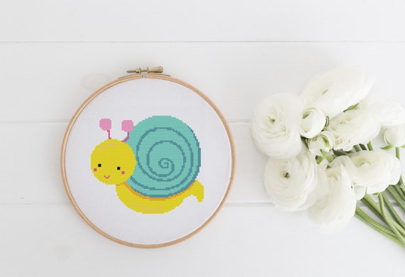 Cute Big Snail - Cross Stitch Pattern PDF Instant Download- Modern Cute Cross Stitch - Nursery Decor Needlecraft Pattern Hoop Art