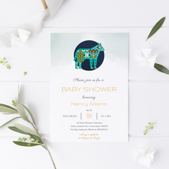 Modern Abstract Scandinavian Animal Baby Shower Invitation - Editable Template - 5 x 7 - Card - Editable Invitation Templett - Download DIY