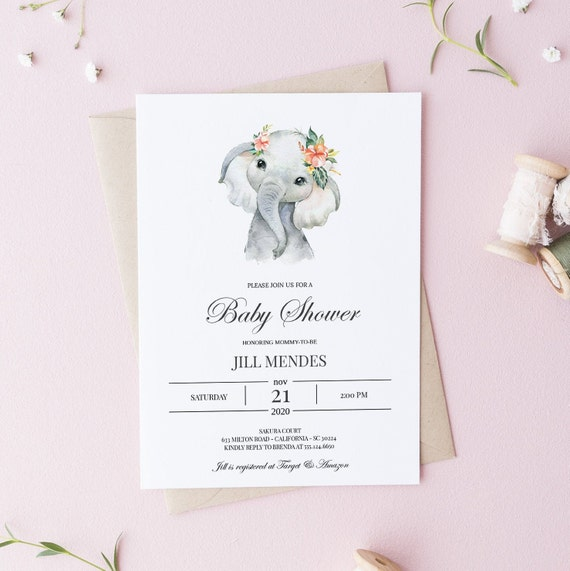 Watercolor Elephant Flower Crown Baby Shower Invitation - Editable Template - 5 x 7 - Card - Editable Invitation Templett - Download DIY