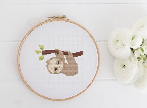 Hanging Sloth - Animal Cross Stitch Pattern - Modern Cross Stitch - Childrens Decor Nursery - Instant Download -