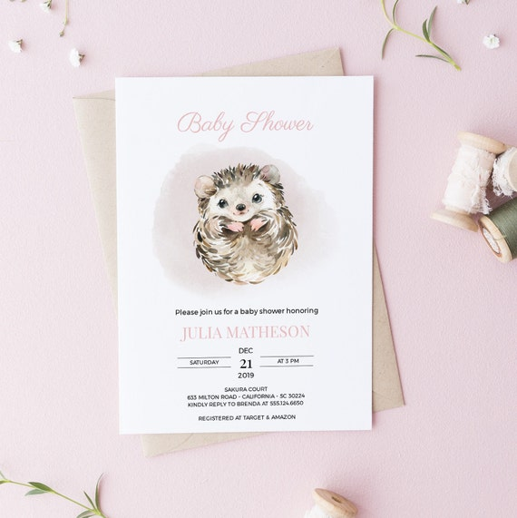 Watercolor Hedgehog Animal Flowers Baby Shower Invitation - Editable Template - 5 x 7 - Card - Editable Invitation Templett - Download