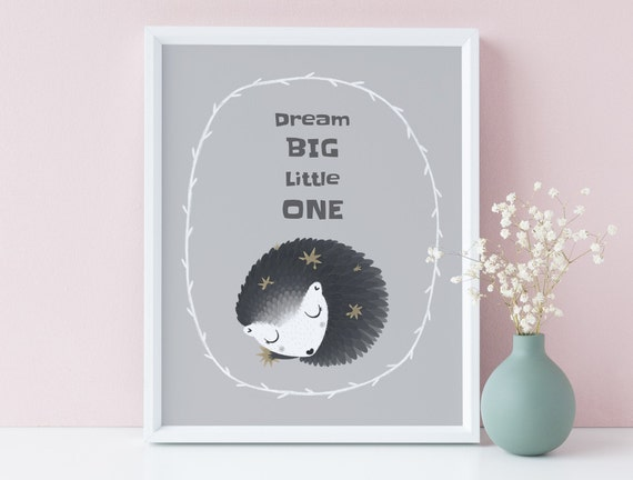 8 x 10 Dream Big Little One Animal Sleep Print- Nursery Decor, Kids Room Baby Wall Art Printable Decor - DIGITAL DOWNLOAD