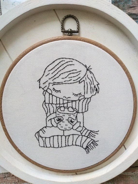 Winter Girl - Hot Cocoa - Embroidery Wall Hoop Art - MADE TO ORDER - Nursery Kids Art- Monochrome