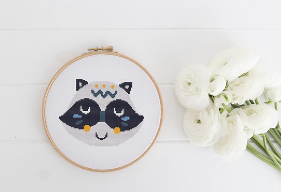Tribal Raccoon Portrait Easy Beginner Pattern - Cross Stitch Pattern - Modern Cross Stitch - Childrens Decor Nursery - Instant Download