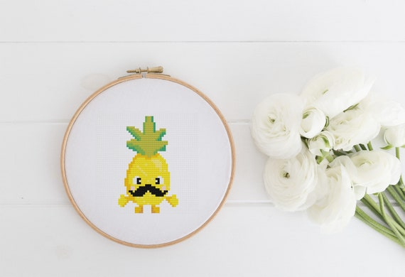 Mr Moustache Pineapple Pattern - Cross Stitch Pattern - Modern Cross Stitch - Childrens Decor Nursery - Instant Download - Home Decor