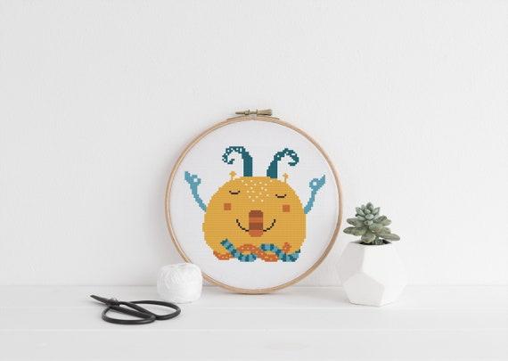 Meditating Monster Zen Pattern - Cross Stitch Pattern - Modern Cross Stitch - Childrens Decor Nursery - Instant Download