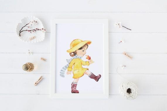 8 x 10 inch Walk In Autumn Girl Print- Nursery Decor Print Wall Art Baby Girl - Boy Room Printable Decor - DIGITAL DOWNLOAD