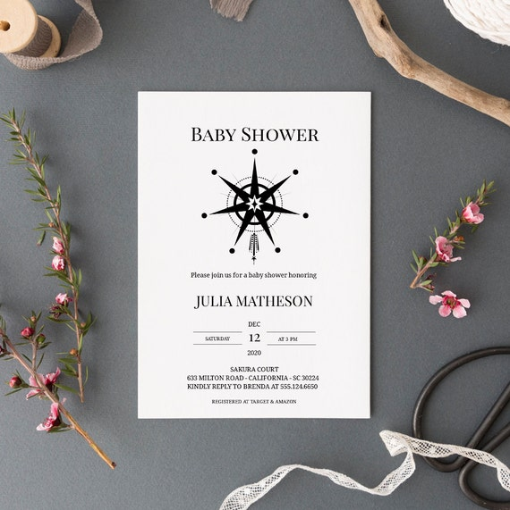 Modern Star Monochrome Baby Shower Invitation - Editable Template - 5 x 7 - Card - Editable Invitation Templett - Download DIY