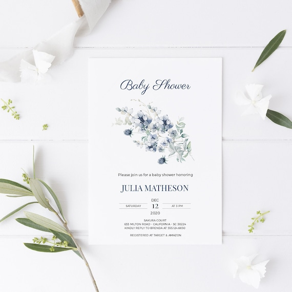 Flower Bouquet Florals Blue Baby Shower Invitation - Editable Template - 5 x 7 - Card - Editable Invitation Templett - Download DIY