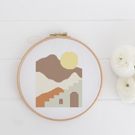 Abstract Landscape 2 - Modern Boho Chart Cross Stitch Pattern - Modern Cross Stitch - Childrens Decor Nursery - Instant Download -