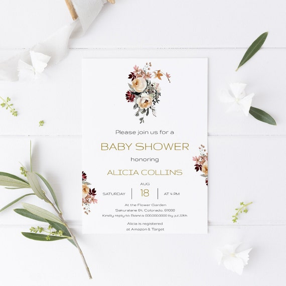 Flower Bouquets Floral Baby Shower Invitation - Editable Template - 5 x 7 - Card - Editable Invitation Templett - Download DIY