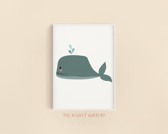 Whale 2 Sea Creature - Nursery Print - Watercolor Baby Girl / Boy Room - DIGITAL DOWNLOAD