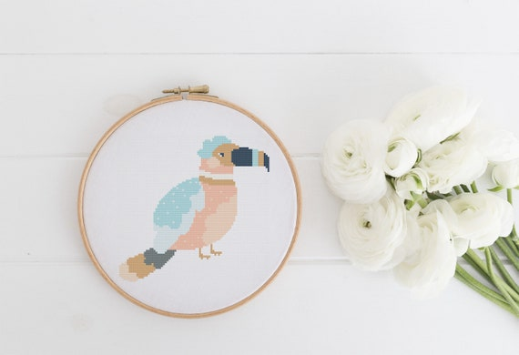 Tropical Bird - Animal Cross Stitch Pattern - Modern Cross Stitch - Childrens Decor Nursery - Instant Download -