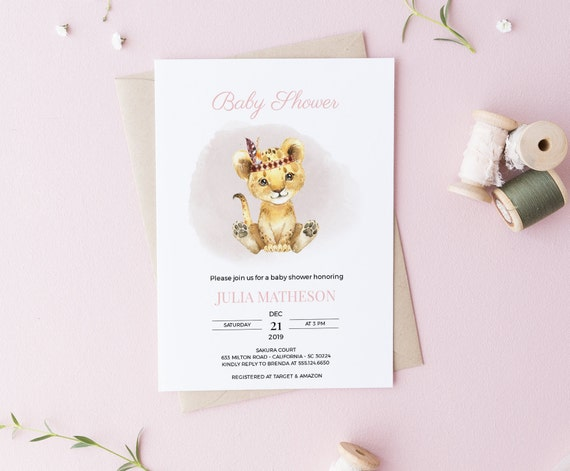 Watercolor Lion Tribal Baby Shower Invitation - Editable Template - 5 x 7 - Card - Editable Invitation Templett - Download DIY