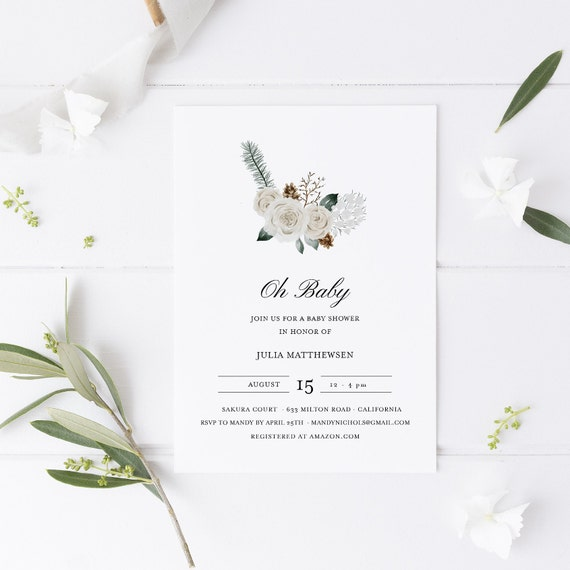 Flower Bouquet White Green Baby Shower Invitation - Editable Template - 5 x 7 - Card - Editable Invitation Templett - Download DIY