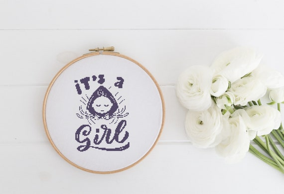 It's a Girl - Newborn Baby - Cross Stitch Pattern PDF - Cross Stitch - Nursery Decor Needlecraft Pattern Hoop Art - Emailed within 24 hours