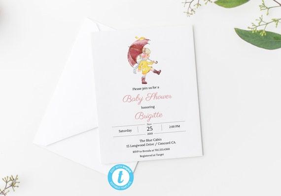 Baby Shower Invitation - Editable Template - 5 x 7 - Watercolor Autumn Girl II Umbrella Leaves Card - Editable Invitation Templett Download
