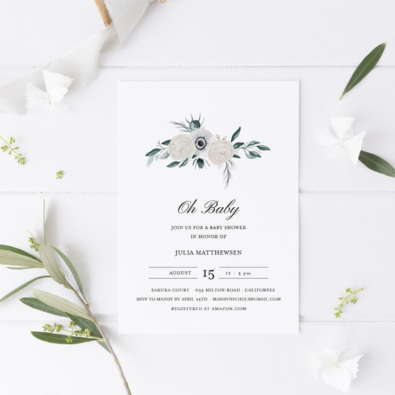 Flower Bouquet White Flowers Baby Shower Invitation - Editable Template - 5 x 7 - Card - Editable Invitation Templett - Download DIY