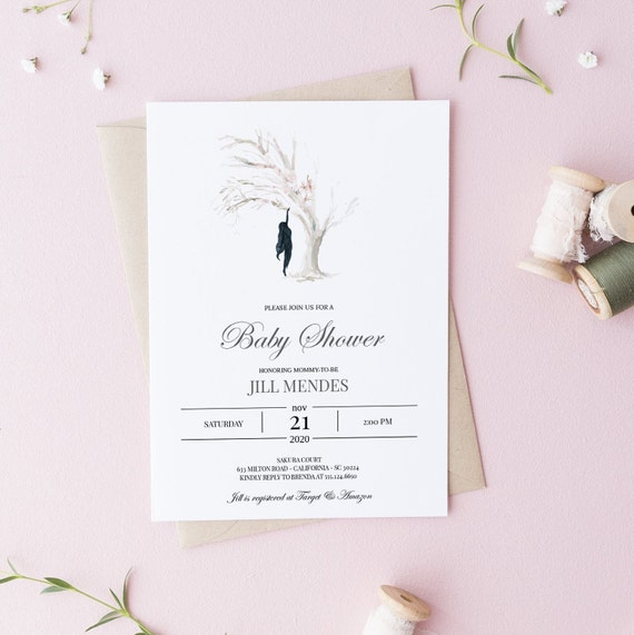 Modern Art Woman Tree Baby Shower Invitation - Editable Template - 5 x 7 - Card - Editable Invitation Templett - Download DIY