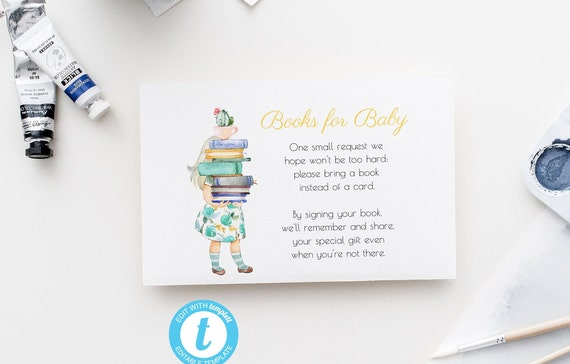 Books for Baby - Watercolor Girl with Books - Editable Template - 5 x 3.5 inch - Card - Edit Yourself Download - Jpeg & PDF options