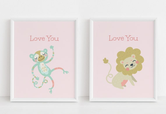 Love You Tiger & Monkey Jungle Animal Print Set - Boho Nursery Print Wall Art Home Decor Baby Girl - Boy Room Printable - DIGITAL DOWNLOAD