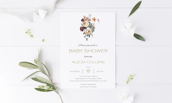 Watercolor Bouquet Floral Baby Shower Invitation - Editable Template - 5 x 7 - Card - Editable Invitation Templett - Download