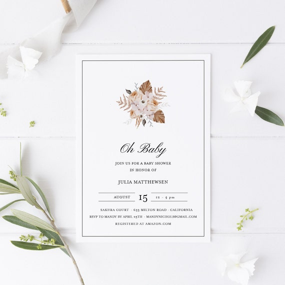 Flower Bouquet Floral Baby Shower Invitation - Editable Template - 5 x 7 - Card - Editable Invitation Templett - Download DIY